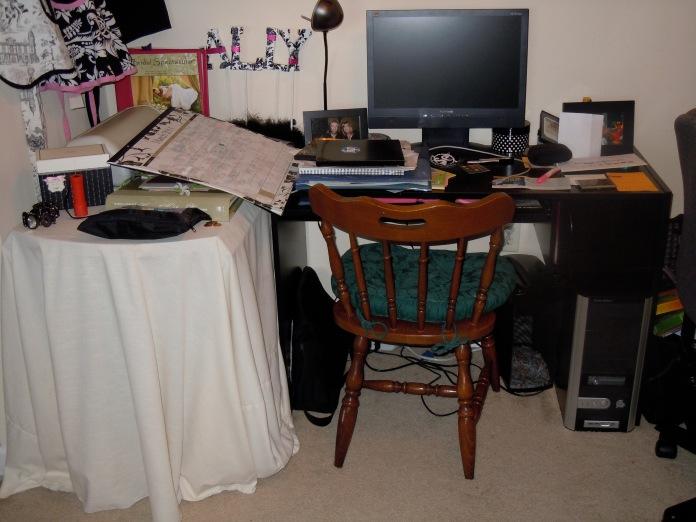 super cluttered desk