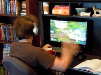 Anth playing vid games