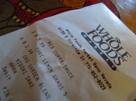 receipt for Thai food from Whole Foods
