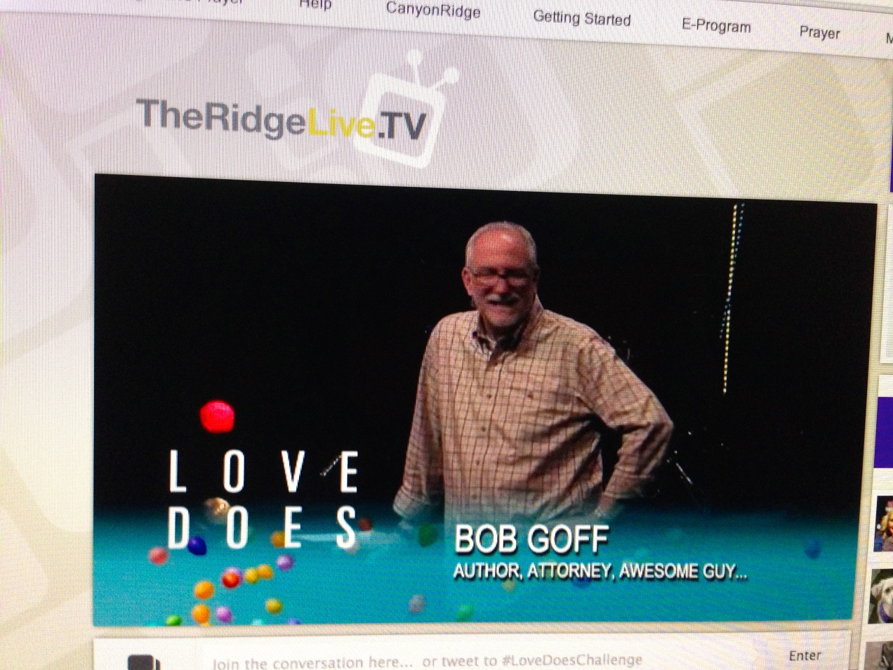 Bob Goff speaks via live stream