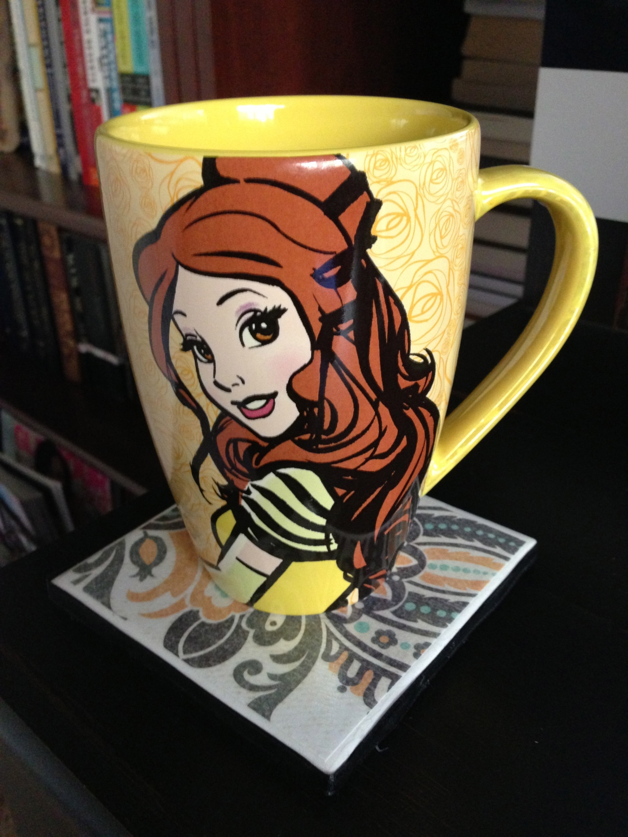 Belle mug and books